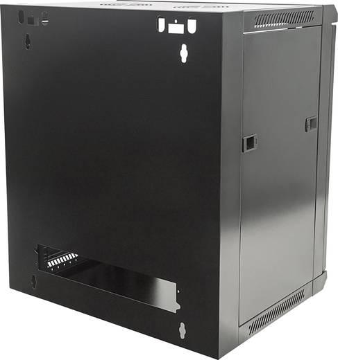 """19""""-os fali rackszekrény, hálózati szerverszekrény, zárható ajtóval 570 x 635 x 600 mm, fekete 12 HE Intellnet 711883"""