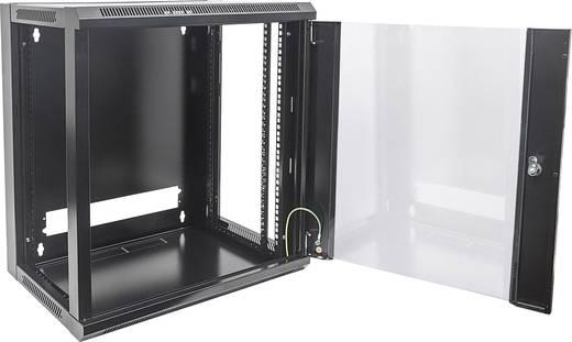 """19""""-os fali rackszekrény, hálózati szerverszekrény, zárható ajtóval 570 x 770 x 450 mm, fekete 15 HE Intellnet 711937"""