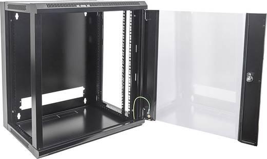 """19""""-os fali rackszekrény, hálózati szerverszekrény, zárható ajtóval 570 x 770 x 600 mm, fekete 15 HE Intellnet 7119"""