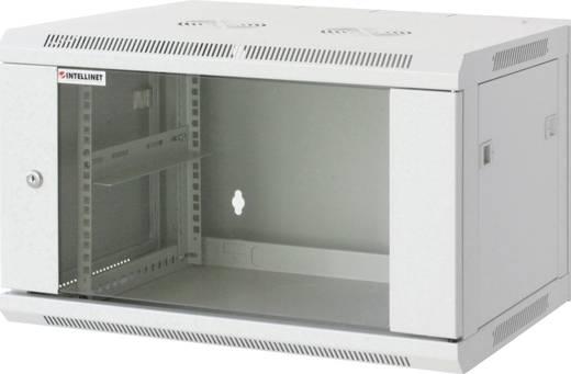 """19""""-os fali rackszekrény, hálózati szerverszekrény, zárható ajtóval 600 x 370 x 600 mm, szürke 6 HE Intellnet 711746"""