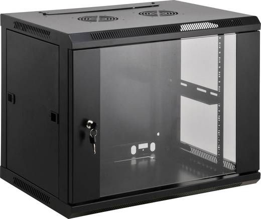 """19""""-os fali rackszekrény, hálózati szerverszekrény, zárható ajtóval 600 x 370 x 600 mm, fekete 6 HE Intellnet 71175"""