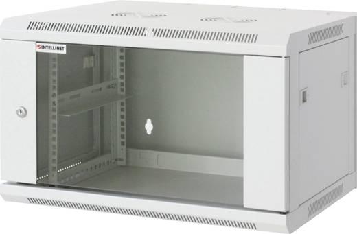 """19""""-os fali rackszekrény, hálózati szerverszekrény, zárható ajtóval 600 x 500 x 450 mm, szürke 9 HE Intellnet 711838"""