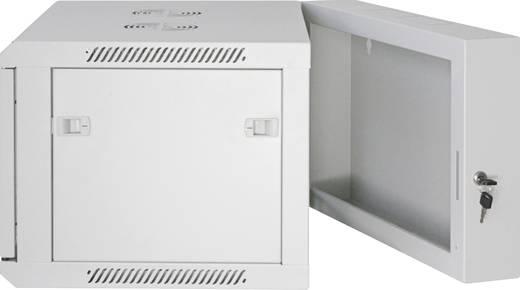 """19""""-os fali rackszekrény, hálózati szerverszekrény, zárható ajtóval 600 x 500 x 550 mm, szürke 9 HE Intellnet 71185"""