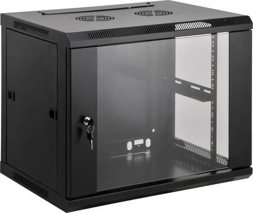 """19""""-os fali rackszekrény, hálózati szerverszekrény, zárható ajtóval 600 x 500 x 600 mm, fekete 9 HE Intellnet 71207"""