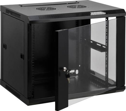 """19""""-os fali rackszekrény, hálózati szerverszekrény, zárható ajtóval 600 x 635 x 600 mm, fekete 12 HE Intellnet 712088"""