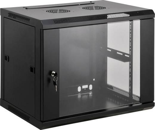"""19""""-os fali rackszekrény, hálózati szerverszekrény, zárható ajtóval 600 x 770 x 450 mm, fekete 15 HE Intellnet 711982"""