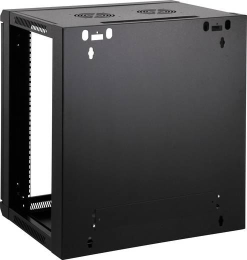 """19""""-os fali rackszekrény, hálózati szerverszekrény, zárható ajtóval 600 x 770 x 550 mm, fekete 15 HE Intellnet 712019"""