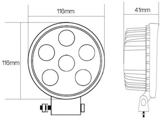 LED-es munkalámpa, fényszóró 18 W 12/24 V 110 x 116 x 41 mm 950 lm, SecoRüt