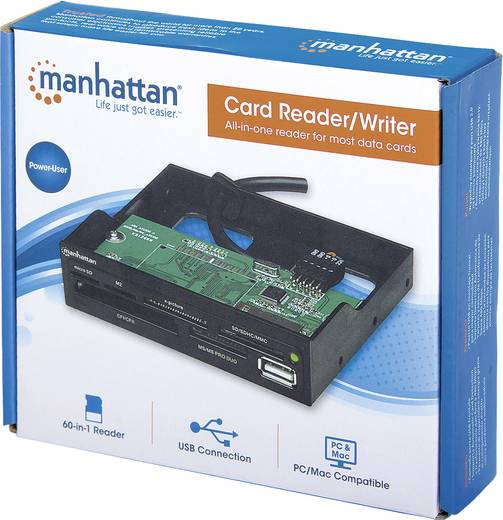 "Beépíthető memóriakártya olvasó 8,9 cm (3,5"") Manhattan 100915 fekete"