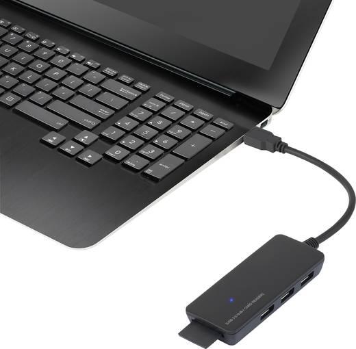 3 portos USB 3.0 hub SD kártyaolvasóval + mikro B USB-ről USB-A-ra átalakító, renkforce
