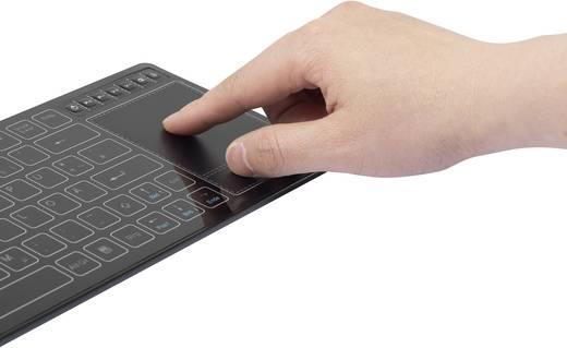 USB-s billentyűzet Renkforce 2.4 GHz Multimedia Fekete Beépített érintőpanel