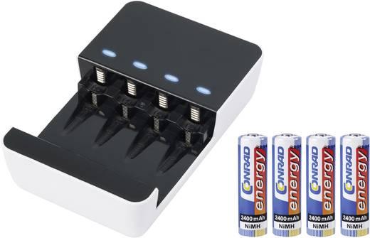 öltőkészülék USB kimenettel, 4 db 2400 mAh-s ceruzaakkuval, Basetech BT-6 96072C19