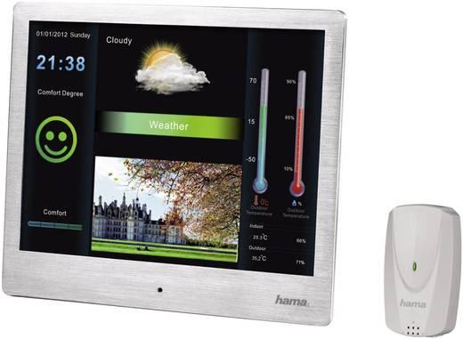 Digitális képkeret időjárásjelző állomással 20,32 cm, 800 x 600 pixel, ezüst, Hama 8SLSWS
