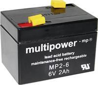multipower MP2-6 A9620 Ólomakku 6 V 2 Ah Ólom-vlies (AGM) (Sz x Ma x Mé) 75 x 53 x 51 mm 4,8 mm-es laposérintkezős dugó multipower