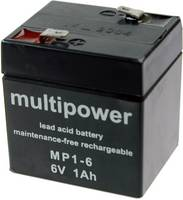 multipower MP1-6 MP1-6 Ólomakku 6 V 1 Ah Ólom-vlies (AGM) (Sz x Ma x Mé) 51 x 55 x 42 mm 4,8 mm-es laposérintkezős dugó multipower