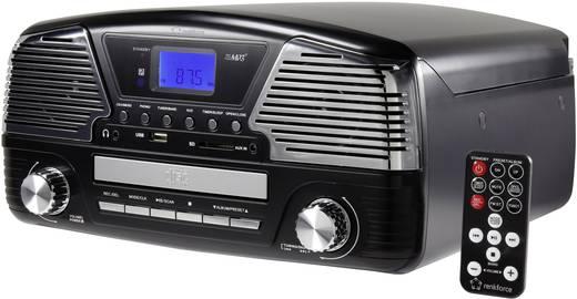 Retro lemezjátszó, USB-s bakelit lemezjátszó beépített digitalizálóval, fekete színű Renkforce MT-35