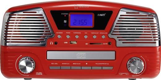 Retro lemezjátszó, USB-s bakelit lemezjátszó beépített digitalizálóval, piros színű Renkforce MT-35
