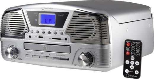 Retro lemezjátszó, USB-s bakelit lemezjátszó beépített digitalizálóval, szürke színű Renkforce MT-35
