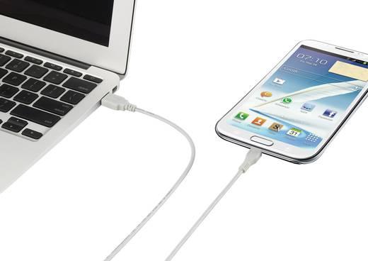 USB 2.0 csatlakozókábel, A/mikro B, fehér, 1 m, Renkforce