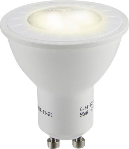 LED izzó, reflektoros, 54 mm 230 V GU10 6,5 W = 50 W melegfehér A+, sygonix