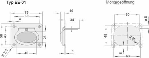 Rohde Kihajtható fogantyú, EE EE-01.R075.39 (H x Sz) 58 mm x 75 mm Nemesacél Ezüst