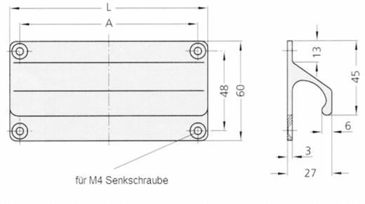 Rohde Párkány fogantyú, LF LF-01.088.01 (H x Sz) 100 mm x 60 mm Alumínium Ezüst