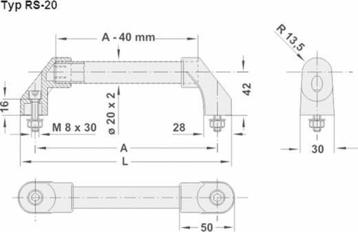 Rohde Gép fogantyú, RS RS-20.200.62 (H x Sz) 230 mm x 30 mm Alumínium Ezüst
