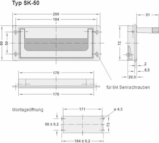 Rohde Süllyesztett kihajtható fogantyú, SK SK-50.S184.9005 (H x Sz) 200 mm x 80 mm Alumínium Fekete
