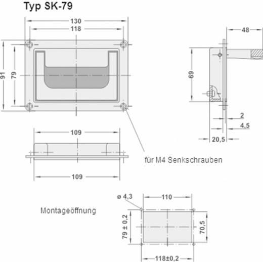 Rohde Süllyesztett kihajtható fogantyú, SK SK-79.S118.9005 (H x Sz) 130 mm x 91 mm Alumínium Fekete