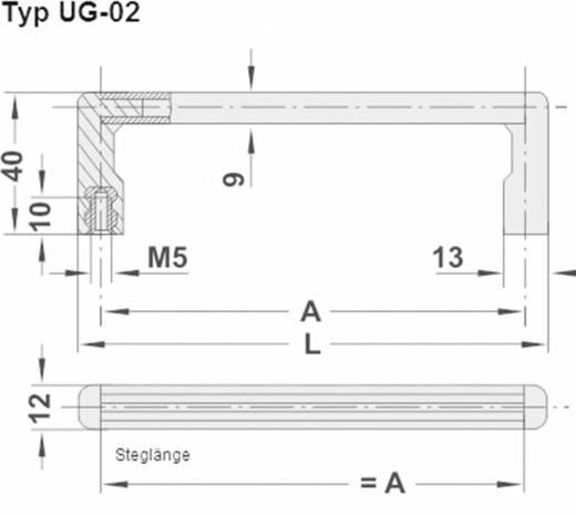 Rohde Univerzális készülékfogantyú, UG UG-02.073.04 (H x Sz) 73.5 mm x 12 mm Alumínium Fekete