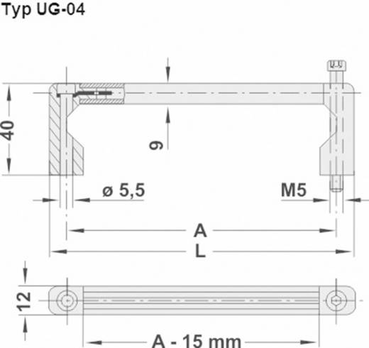 Rohde Univerzális készülékfogantyú, UG UG-04.161.04 (H x Sz) 176.5 mm x 12 mm Alumínium Fekete
