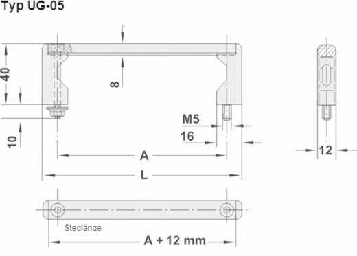 Rohde Univerzális készülékfogantyú, UG-05 UG-05.025.04 (H x Sz) 45 mm x 12 mm Alumínium Fekete