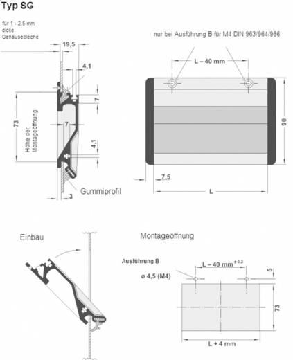 Rohde Süllyesztett kihajthatós fogantyú, SG SG-73.167.A4 (H x Sz) 167 mm x 90 mm Alumínium Fekete