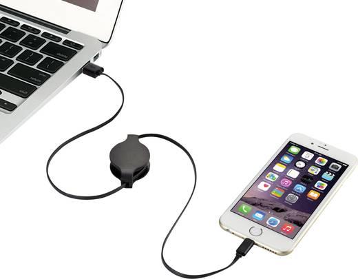 Apple töltőkábel iPhone iPad iPod adatkábel önfelcsévélős [1xUSB dugó A - 1x Apple Lightning dugó] 0.8m fekete Renkforce