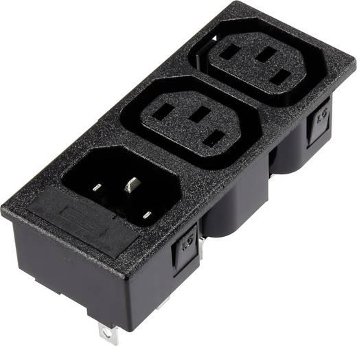 3 részes beépíthető hálózati műszercsatlakozó aljzat/dugó, 3 pól., függőleges, 10 A, fekete, 2xC13 1xC14, 1365772