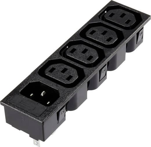5 részes beépíthető hálózati műszercsatlakozó aljzat/dugó, 3 pól., függőleges, 10 A, fekete, 4xC13 1xC14, 1365774