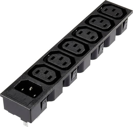 7 részes beépíthető hálózati műszercsatlakozó aljzat/dugó, 3 pól., függőleges, 10 A, fekete, 6xC13 1xC14, 1365776