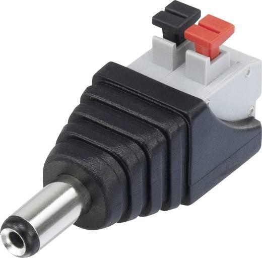 Tápegység csatlakozó rugóerős csatlakozóval, egyenes, 5,5 mm, 2,1 mm, Conrad QT-DC2.1M