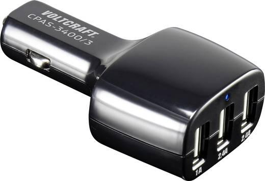 USB-s gépkocsi töltőadapter, 3 x USB, 3400 mAh, Voltcraft CPAS-3400/3+