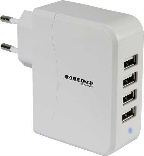 Hálózati USB töltő adapter 4 USB aljzattal 100-240V/AC 5V/DC max. 4900mA Basetech SUC-4900/4