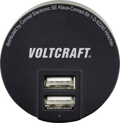 Hálózati USB töltő adapter 2 USB aljzattal 100-240V/AC 5V/DC max. 3400mA Voltcraft SPAS-3400/2