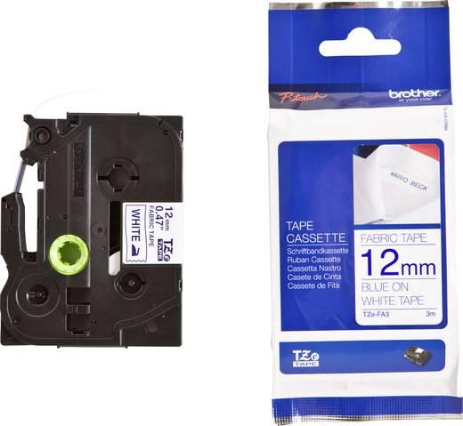 Feliratozó szalag, textil, nem laminált Brother TZe-FA3 Szalagszín: Fehér Szövegszín:Kék 12 mm 3 m