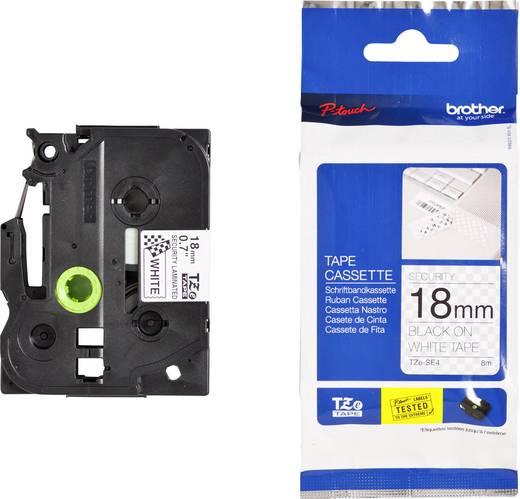 Feliratozó szalag, biztonsági Brother TZe-SE4 Szalagszín: Fehér Szövegszín:Fekete 18 mm 8 m