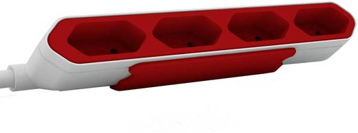 Hálózati elosztó Euro dugós, 4 részes, fehér/piros, Segula 50434