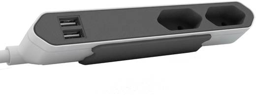 Hálózati elosztó Euro dugóval, 2 részes, 2 x USB töltő, fehér/szürke, Segula 50435