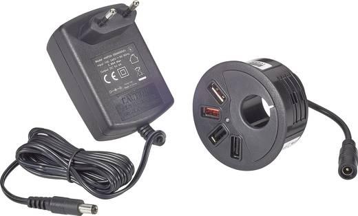 Beépíthető USB töltőaljzat, asztalba építhető 4 USB aljzattal 100-240V/AC 5V/DC max.4000 mA Voltcraft DAPS-4000/4
