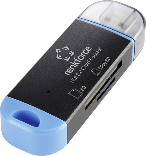 Külső memóriakártya olvasó USB 3.0 fekete, renkforce R22