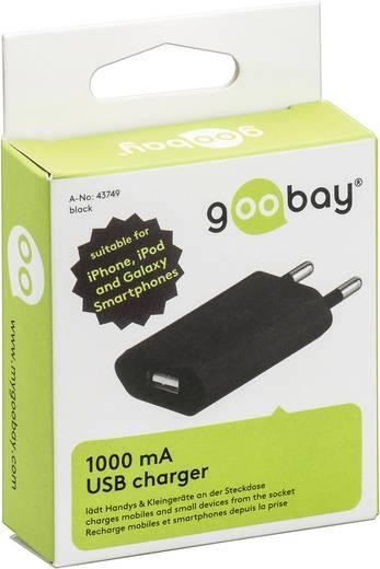 Hálózati USB töltő adapter, (max.) 1000 mA, fekete színű Goobay 43749