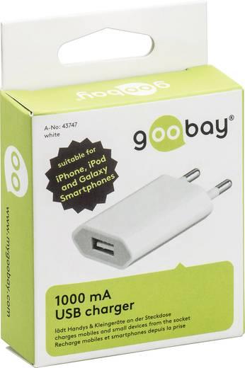 Hálózati USB töltő adapter 115-230V/AC 1000mA fehér színű Goobay 43747