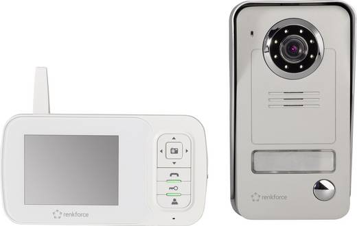 Vezeték nélküli video kaputelefon készlet, 1 család, fehér/szürke, renkforce